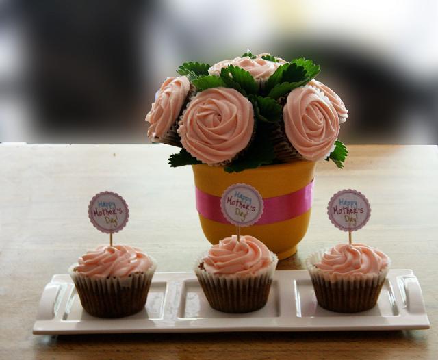 Cupcake em Buquê de Flores para o Dia das Mães